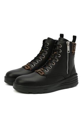 Мужские кожаные ботинки FENDI черного цвета, арт. 7U1399 AD83 | Фото 1