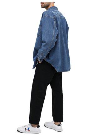 Мужские кожаные кеды KENZO белого цвета, арт. FA65SN170L50 | Фото 2 (Материал внутренний: Натуральная кожа, Текстиль; Подошва: Плоская)