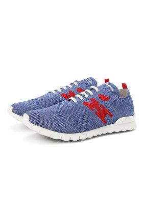 Мужские текстильные кроссовки KITON голубого цвета, арт. USSKD0TN00818 | Фото 1