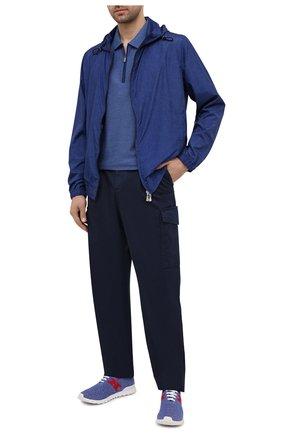 Мужские текстильные кроссовки KITON голубого цвета, арт. USSKD0TN00818 | Фото 2