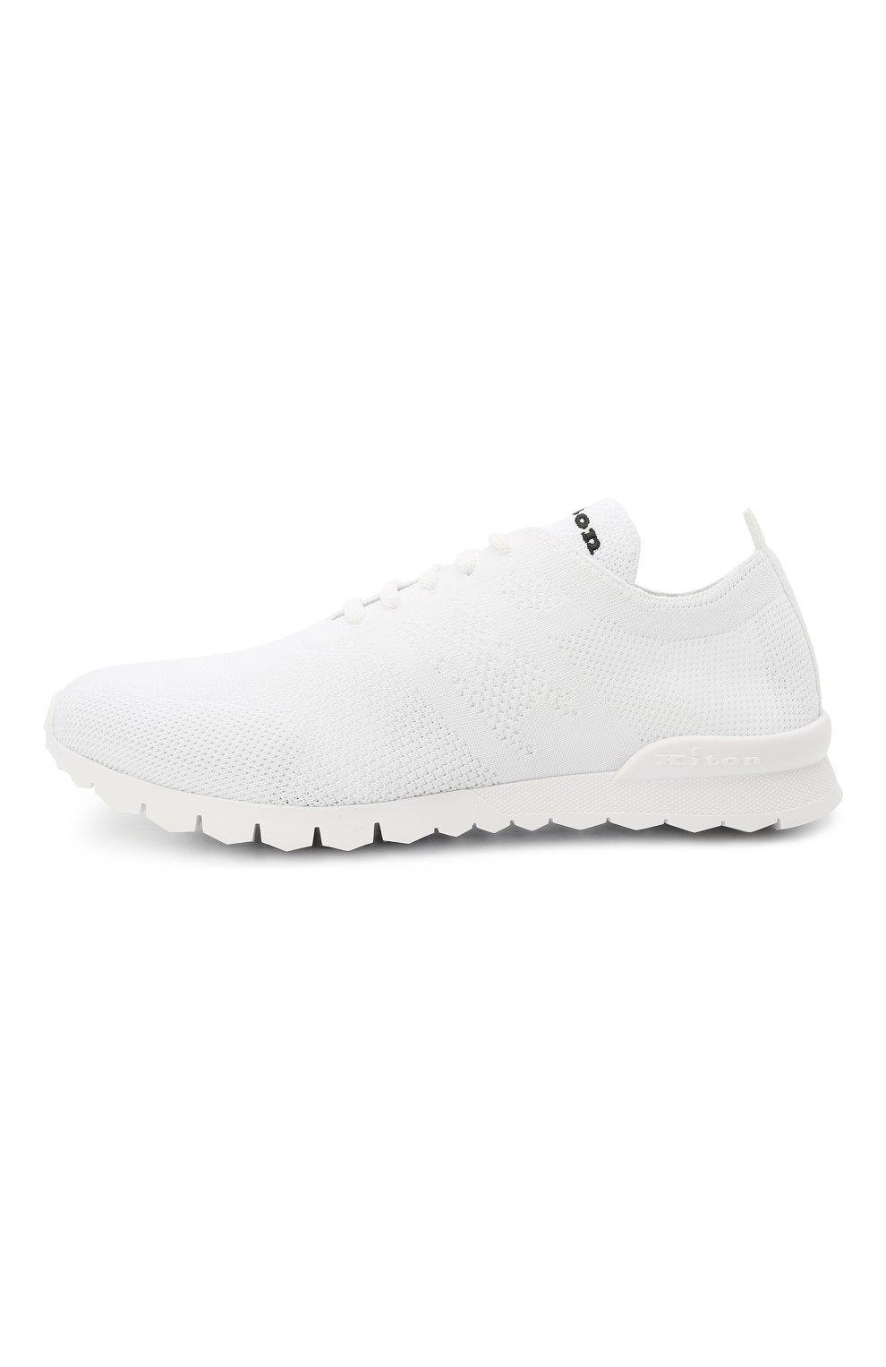 Мужские текстильные кроссовки KITON белого цвета, арт. USSKD0TN00819 | Фото 3