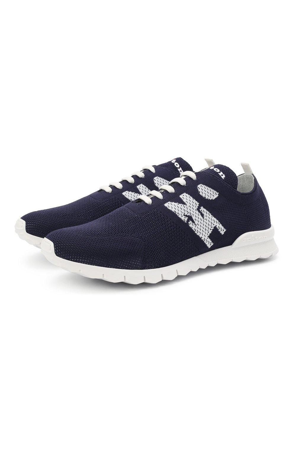 Мужские текстильные кроссовки KITON темно-синего цвета, арт. USSKD0TN00819 | Фото 1 (Материал внешний: Текстиль; Материал внутренний: Натуральная кожа; Подошва: Массивная; Стили: Спорт)