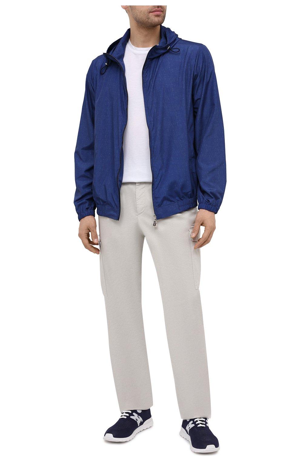 Мужские текстильные кроссовки KITON темно-синего цвета, арт. USSKD0TN00819 | Фото 2 (Материал внешний: Текстиль; Материал внутренний: Натуральная кожа; Подошва: Массивная; Стили: Спорт)