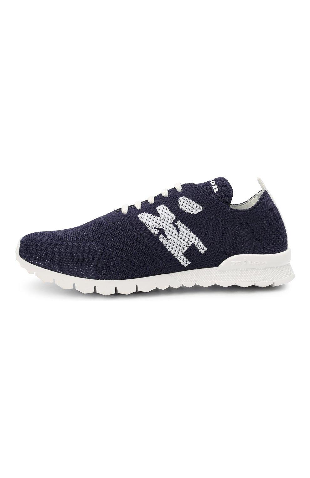 Мужские текстильные кроссовки KITON темно-синего цвета, арт. USSKD0TN00819 | Фото 3 (Материал внешний: Текстиль; Материал внутренний: Натуральная кожа; Подошва: Массивная; Стили: Спорт)