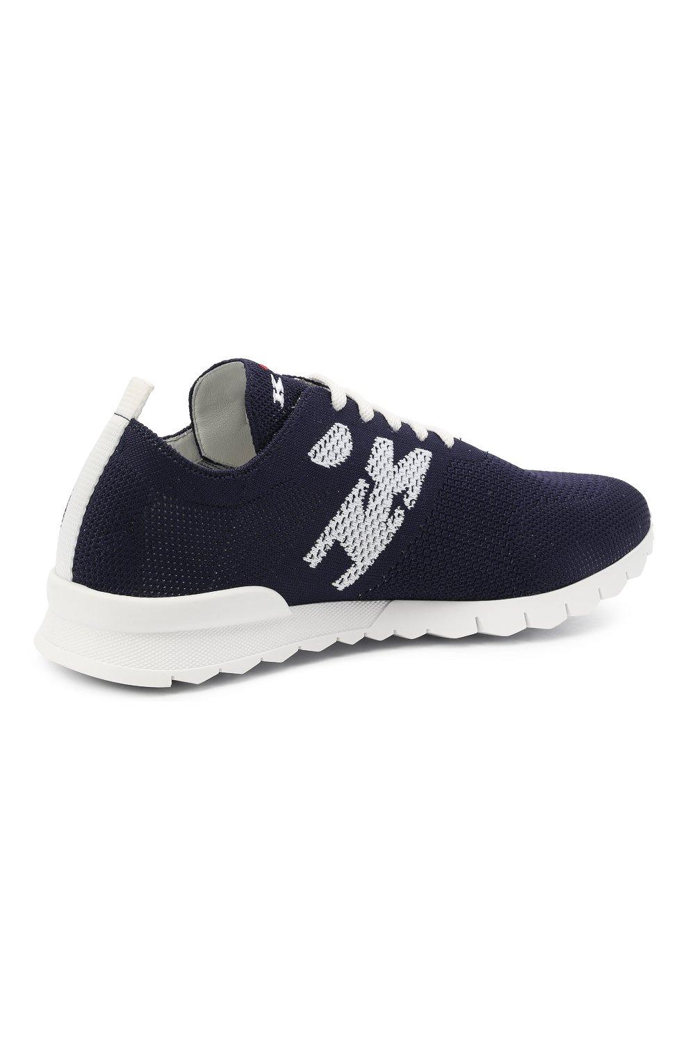 Мужские текстильные кроссовки KITON темно-синего цвета, арт. USSKD0TN00819 | Фото 4 (Материал внешний: Текстиль; Материал внутренний: Натуральная кожа; Подошва: Массивная; Стили: Спорт)