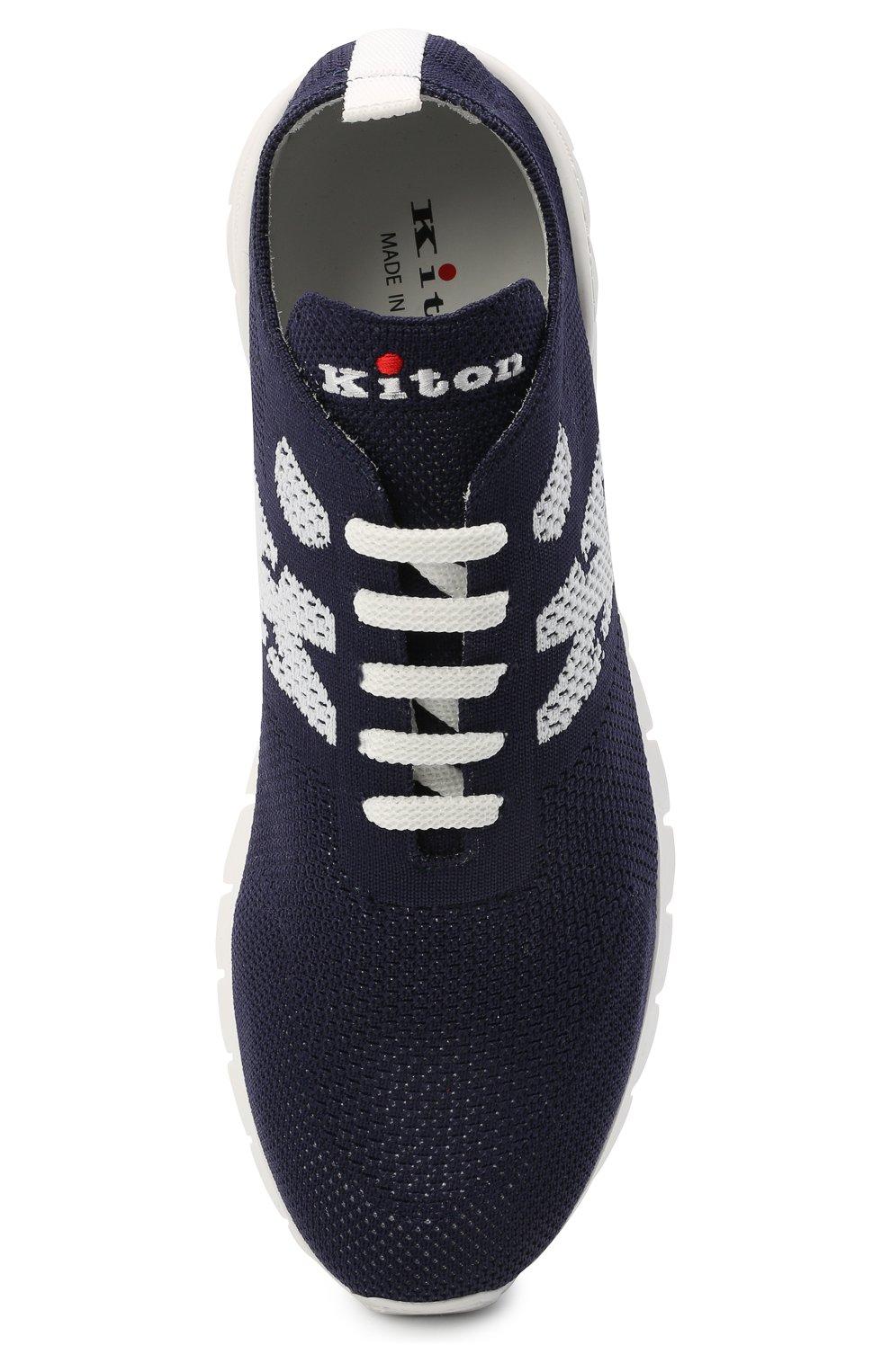 Мужские текстильные кроссовки KITON темно-синего цвета, арт. USSKD0TN00819 | Фото 5 (Материал внешний: Текстиль; Материал внутренний: Натуральная кожа; Подошва: Массивная; Стили: Спорт)