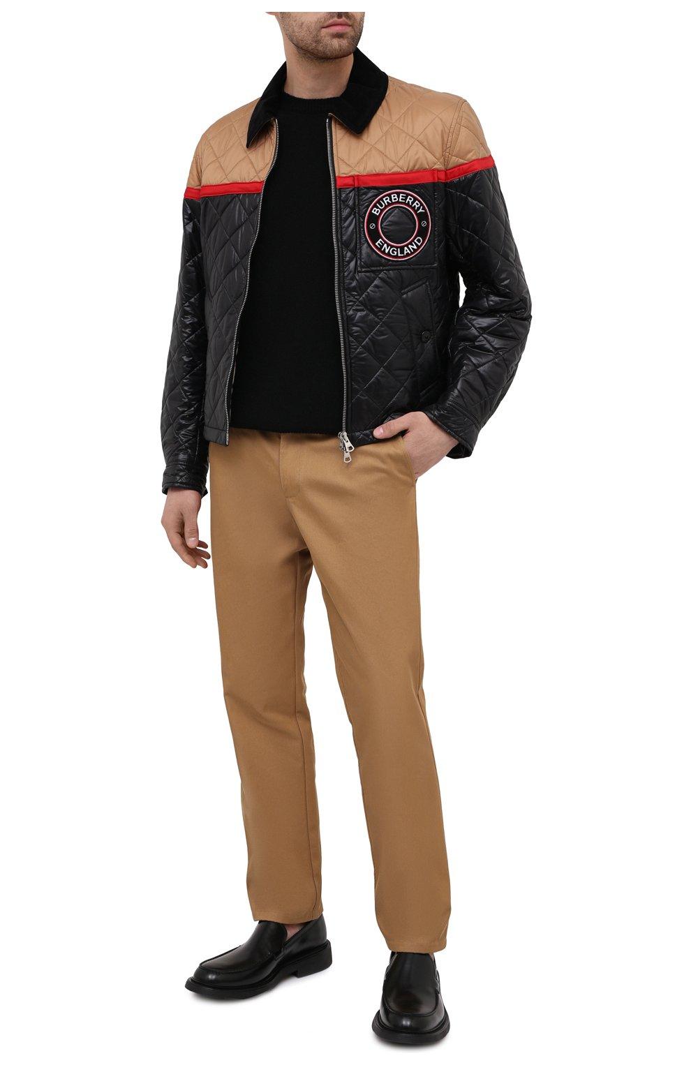 Мужские хлопковые брюки BURBERRY бежевого цвета, арт. 8036695   Фото 2 (Силуэт М (брюки): Чиносы; Длина (брюки, джинсы): Стандартные; Случай: Повседневный; Материал внешний: Хлопок; Стили: Кэжуэл)