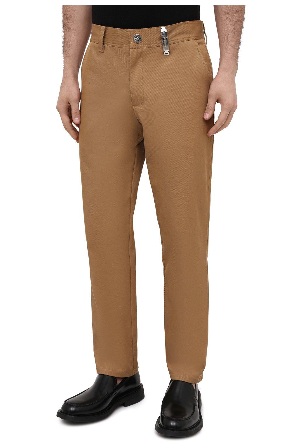 Мужские хлопковые брюки BURBERRY бежевого цвета, арт. 8036695   Фото 3 (Силуэт М (брюки): Чиносы; Длина (брюки, джинсы): Стандартные; Случай: Повседневный; Материал внешний: Хлопок; Стили: Кэжуэл)