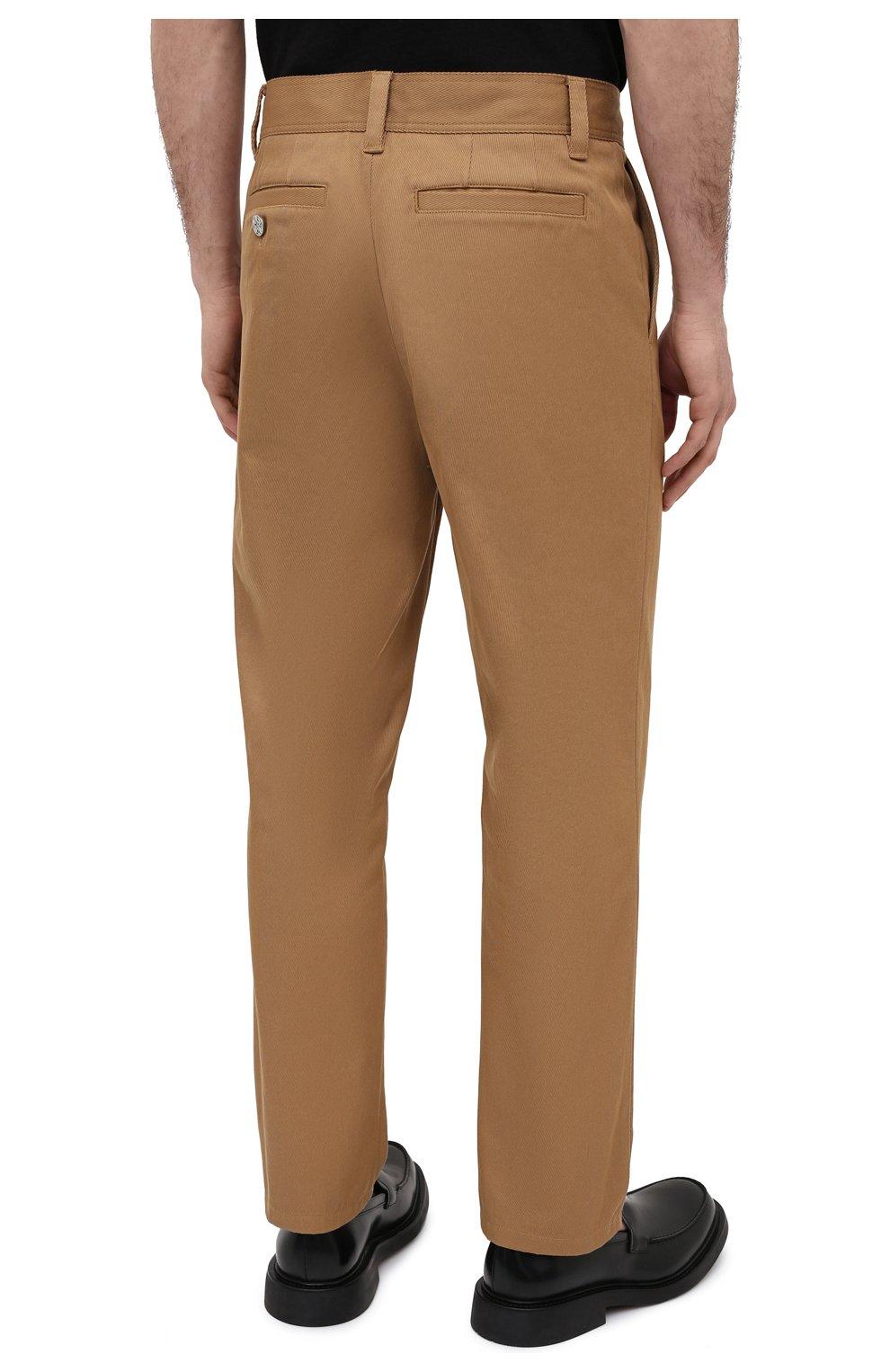 Мужские хлопковые брюки BURBERRY бежевого цвета, арт. 8036695   Фото 4 (Силуэт М (брюки): Чиносы; Длина (брюки, джинсы): Стандартные; Случай: Повседневный; Материал внешний: Хлопок; Стили: Кэжуэл)