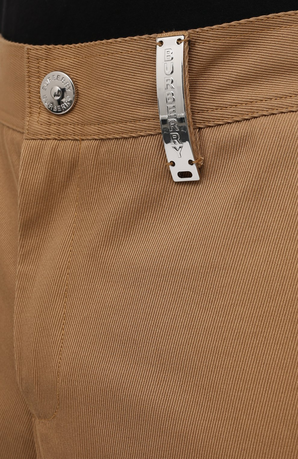 Мужские хлопковые брюки BURBERRY бежевого цвета, арт. 8036695   Фото 5 (Силуэт М (брюки): Чиносы; Длина (брюки, джинсы): Стандартные; Случай: Повседневный; Материал внешний: Хлопок; Стили: Кэжуэл)