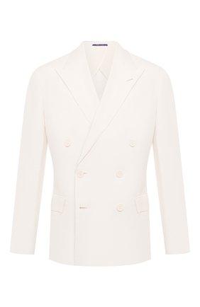 Мужской пиджак из шелка и льна RALPH LAUREN белого цвета, арт. 798829726 | Фото 1