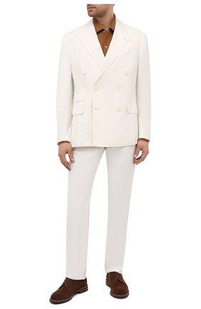 Мужской пиджак из шелка и льна RALPH LAUREN белого цвета, арт. 798829726 | Фото 2