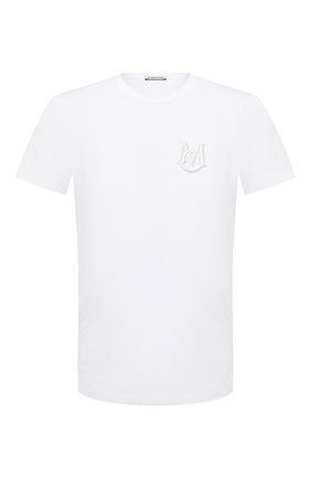 Мужская хлопковая футболка MONCLER белого цвета, арт. G1-091-8C7C6-00-8390T | Фото 1 (Длина (для топов): Стандартные; Принт: Без принта; Материал внешний: Хлопок; Стили: Гранж, Кэжуэл; Рукава: Короткие)