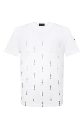 Мужская хлопковая футболка MONCLER белого цвета, арт. G1-091-8C7B1-10-829H8 | Фото 1 (Длина (для топов): Стандартные; Материал внешний: Хлопок; Стили: Гранж; Принт: С принтом; Рукава: Короткие)
