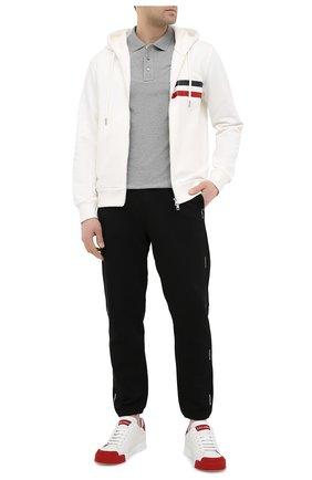 Мужское хлопковое поло MONCLER серого цвета, арт. G1-091-8A729-00-84556 | Фото 2
