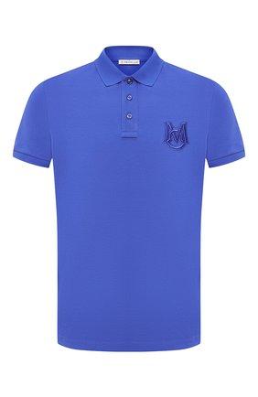 Мужское хлопковое поло MONCLER синего цвета, арт. G1-091-8A729-00-84556 | Фото 1