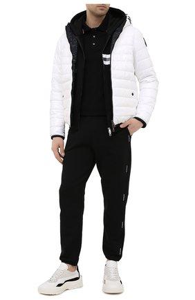 Мужское хлопковое поло MONCLER черного цвета, арт. G1-091-8A703-00-84556   Фото 2