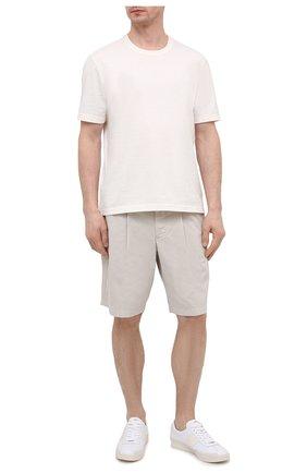 Мужские хлопковые шорты GIORGIO ARMANI светло-бежевого цвета, арт. 0SGPB00E/T02EY   Фото 2