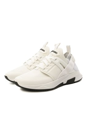 Мужские комбинированные кроссовки TOM FORD белого цвета, арт. J1100T-T0F001 | Фото 1 (Стили: Спорт; Материал внешний: Текстиль; Материал внутренний: Текстиль, Натуральная кожа; Подошва: Массивная)