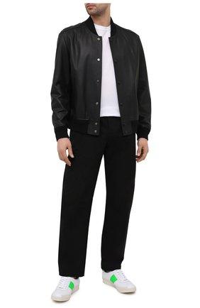 Мужские кожаные кеды TOM FORD белого цвета, арт. J1261T-TAP001 | Фото 2 (Материал внутренний: Натуральная кожа, Текстиль; Подошва: Плоская)