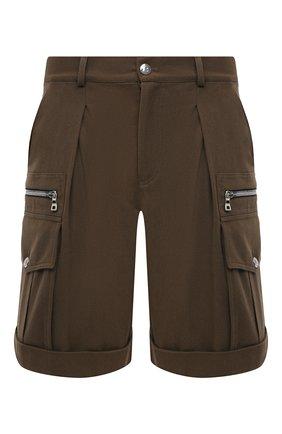 Мужские хлопковые шорты BALMAIN хаки цвета, арт. VH1PB001/C210 | Фото 1