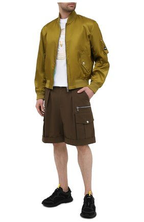 Мужские хлопковые шорты BALMAIN хаки цвета, арт. VH1PB001/C210 | Фото 2