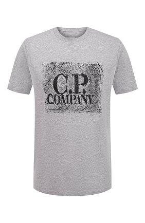 Мужская хлопковая футболка C.P. COMPANY серого цвета, арт. 10CMTS204A-006011W | Фото 1 (Материал внешний: Хлопок; Принт: С принтом; Длина (для топов): Стандартные; Стили: Гранж; Рукава: Короткие)