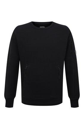 Мужской хлопковый свитшот C.P. COMPANY черного цвета, арт. 10CMSS060A-005086W | Фото 1 (Длина (для топов): Стандартные; Рукава: Длинные; Материал внешний: Хлопок; Мужское Кросс-КТ: свитшот-одежда; Стили: Гранж; Принт: Без принта)