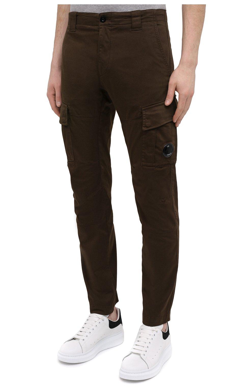 Мужские хлопковые брюки-карго C.P. COMPANY хаки цвета, арт. 10CMPA151A-005694G | Фото 3 (Силуэт М (брюки): Карго; Длина (брюки, джинсы): Стандартные; Случай: Повседневный; Стили: Гранж; Материал внешний: Хлопок)