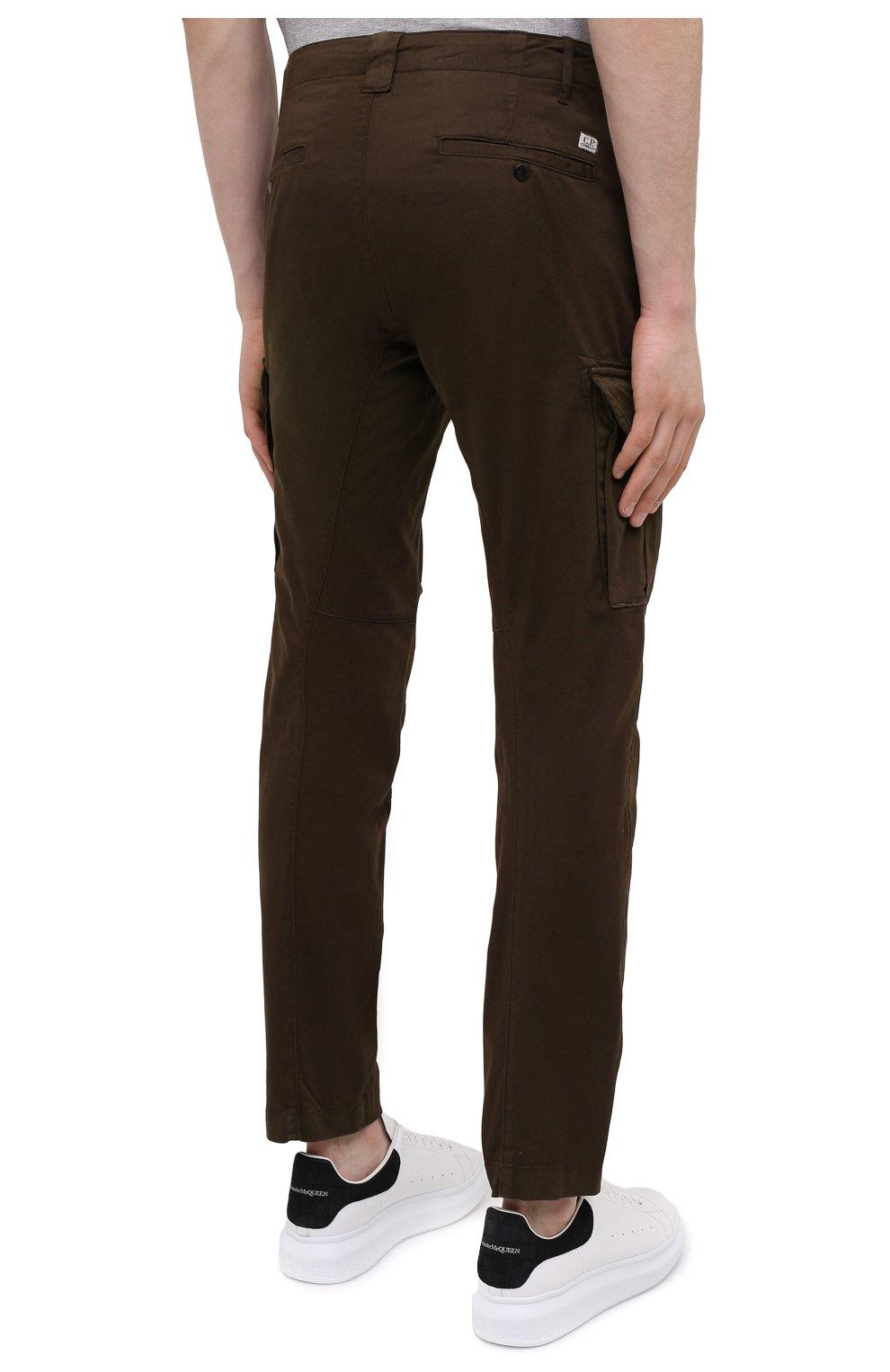 Мужские хлопковые брюки-карго C.P. COMPANY хаки цвета, арт. 10CMPA151A-005694G | Фото 4 (Силуэт М (брюки): Карго; Длина (брюки, джинсы): Стандартные; Случай: Повседневный; Стили: Гранж; Материал внешний: Хлопок)