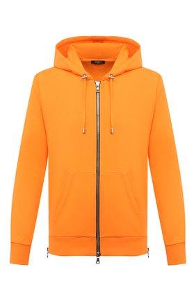 Мужской хлопковая толстовка BALMAIN оранжевого цвета, арт. VH1JR010/B025 | Фото 1
