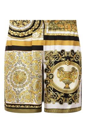 Мужские шелковые шорты VERSACE золотого цвета, арт. A84097/1F00719 | Фото 1