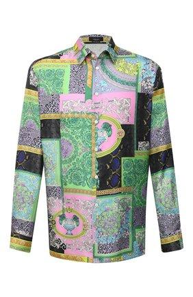 Мужская шелковая рубашка VERSACE разноцветного цвета, арт. A84050/1F00537 | Фото 1