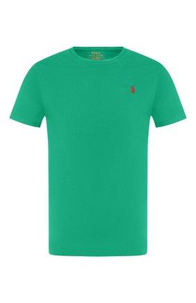 Мужская хлопковая футболка POLO RALPH LAUREN зеленого цвета, арт. 710671438 | Фото 1 (Рукава: Короткие; Принт: Без принта; Стили: Кэжуэл; Длина (для топов): Стандартные; Материал внешний: Хлопок)