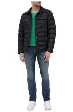 Мужская хлопковая футболка POLO RALPH LAUREN зеленого цвета, арт. 710671438 | Фото 2 (Рукава: Короткие; Принт: Без принта; Стили: Кэжуэл; Длина (для топов): Стандартные; Материал внешний: Хлопок)
