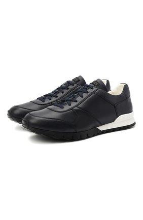 Мужские кожаные кроссовки KITON темно-синего цвета, арт. USSVLAEN00648/12-16 | Фото 1