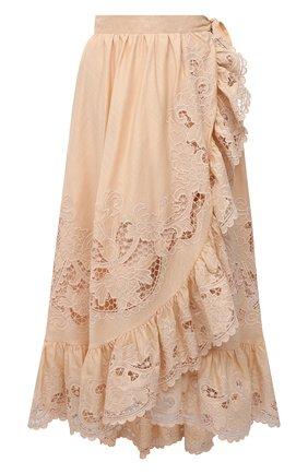 Женская хлопковая юбка ZIMMERMANN бежевого цвета, арт. 9881SBRG | Фото 1