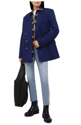 Женские кожаные ботинки city KENZO синего цвета, арт. FB52BT340L67 | Фото 2