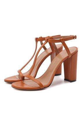 Женские кожаные босоножки KITON коричневого цвета, арт. D51810X08S71 | Фото 1