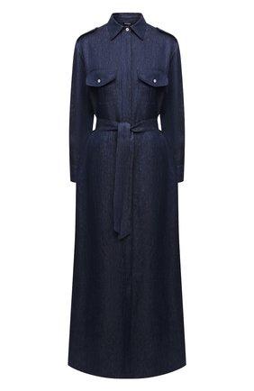 Женское льняное платье KITON синего цвета, арт. D47321K09T40 | Фото 1