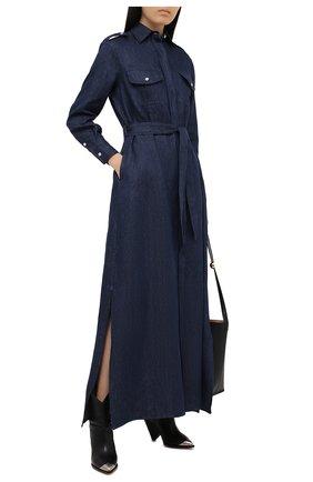 Женское льняное платье KITON синего цвета, арт. D47321K09T40 | Фото 2