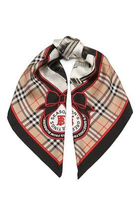 Женский шелковый платок BURBERRY бежевого цвета, арт. 8037470   Фото 1