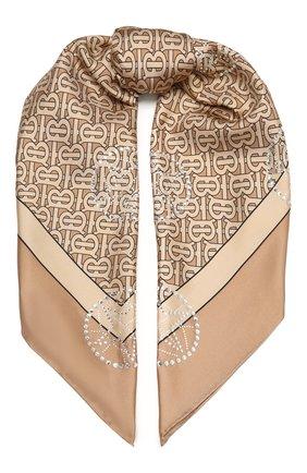 Женский шелковый платок BURBERRY бежевого цвета, арт. 8037155   Фото 1