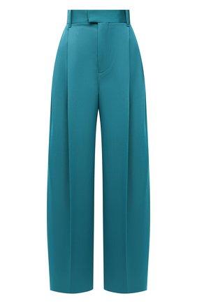 Женские шерстяные брюки BOTTEGA VENETA бирюзового цвета, арт. 649849/V0B20 | Фото 1