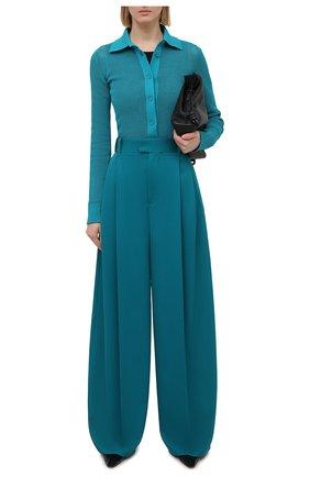 Женские шерстяные брюки BOTTEGA VENETA бирюзового цвета, арт. 649849/V0B20 | Фото 2