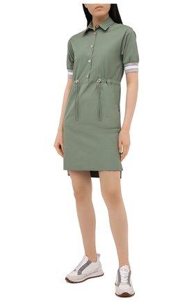 Женское хлопковое платье LORENA ANTONIAZZI зеленого цвета, арт. P2132AB063/3434 | Фото 2