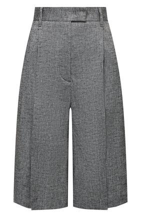 Женские шорты из вискозы и льна LORENA ANTONIAZZI серого цвета, арт. P2117PA113/3377 | Фото 1