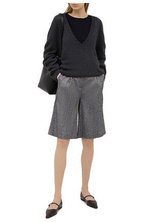 Женские шорты из вискозы и льна LORENA ANTONIAZZI серого цвета, арт. P2117PA113/3377 | Фото 2