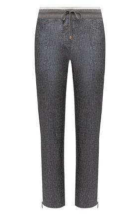 Женские брюки из вискозы и льна LORENA ANTONIAZZI серого цвета, арт. P2117PA032/3377 | Фото 1