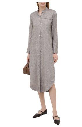 Женское платье из льна и вискозы LORENA ANTONIAZZI бежевого цвета, арт. P2117AB019/3377 | Фото 2